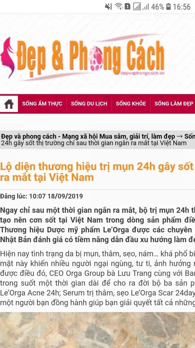 Truyền thông nói gì về bộ trị mụn 24 Orga?