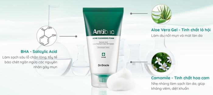 Thành phần sữa rửa mặt trị mụn Antibac Acne Cleansing Foam