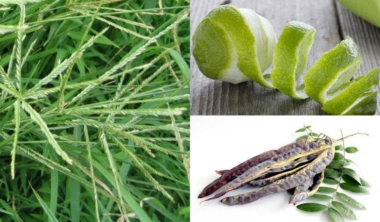 Vỏ bưởi, bồ kết và cỏ mần trầu trị rụng tóc rất hiệu quả